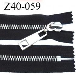fermeture zip à glissière en métal chromé longueur 40 cm couleur noir non séparable  largeur 3.6 cm zip glissière largeur 8 mm