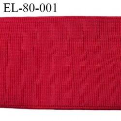 élastique 80 mm très belle qualité couleur rouge style grosse cotes  80 mm idéal pour ceinture  Fabriqué en France prix au mètre