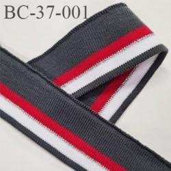 Bord-Côte 37 mm bord cote jersey maille synthétique couleur gris rouge argent et blanc longueur 15 cm prix à la pièce