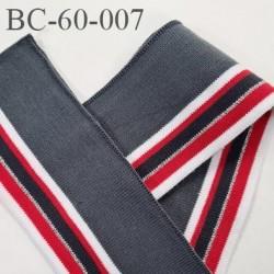 Bord-Côte 62 mm bord cote jersey maille synthétique couleur gris rouge argent et blanc longueur 25 cm prix à la pièce