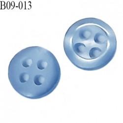 bouton 9 mm  pvc très haut de gamme bouton de grande marque couleur bleu 4 trous diamètre 9 millimètres