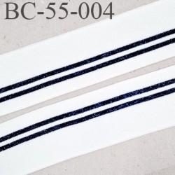Bord-Côte 55 mm bord cote jersey maille synthétique couleur blanc noir et bleu pailleté largeur 55 mm longueur 118 mm