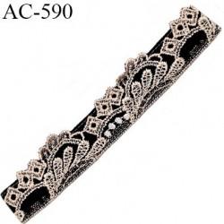 Devant attache bretelle haut de gamme une grande marque Française noir et écru très très joli longueur 13.2 cm hauteur 25 mm