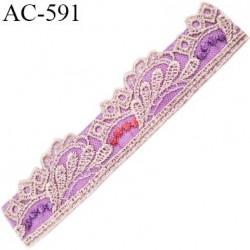 Devant attache bretelle haut de gamme une grande marque Française violine et écru très très joli longueur 13 cm hauteur 30 mm