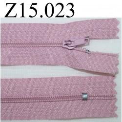 fermeture éclair longueur 15 cm couleur rose non séparable zip nylon largeur 2.5 cm