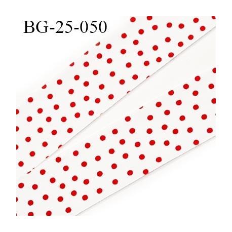 biais à plier 25 mm galon couleur blanc et points rouge coton et synthétique largeur 25 mm prix au mètre