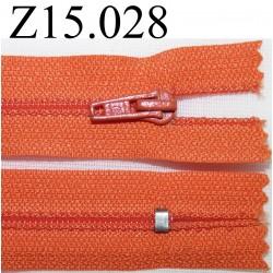fermeture éclair longueur 15 cm couleur orange non séparable zip nylon largeur 2.5 cm