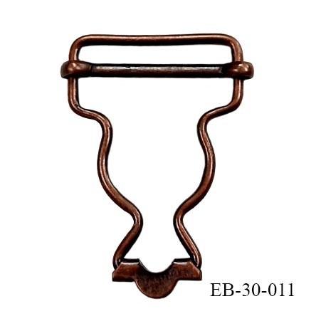Boucle 25 mm coulissante métal couleur laiton vieilli largeur 3 cm hauteur 4.5 cm passage de sangle 2.5 cm épaisseur 2 mm
