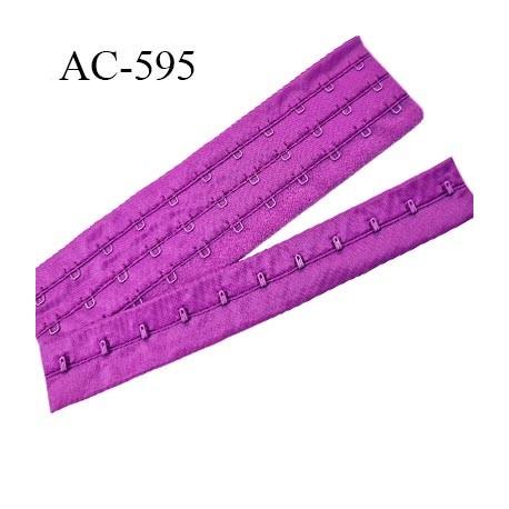 Bande Agrafe de 55 mm de hauteur et 3 rangés pour soutien gorge largeur de 21 cm avec 11 crochets couleur pivoine