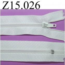 fermeture éclair longueur 15 cm couleur blanche non séparable zip nylon largeur 2.5 cm