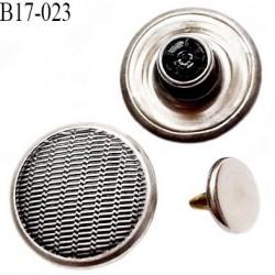 bouton 17 mm  jeans en métal couleur acier avec le clou 17 millimètre haut de gamme pour une grande marque Française
