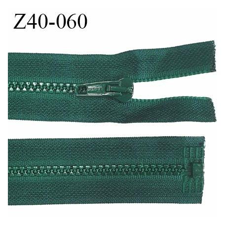 fermeture zip LAMPO longueur 40 cm couleur vert bouteille séparable zip nylon largeur 3.4 cm largeur du zip moulé 6 mm