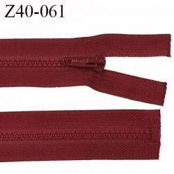 fermeture zip LAMPO longueur 40 cm couleur bordeaux séparable zip nylon largeur 3.4 cm largeur du zip moulé 6 mm