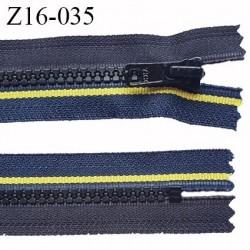 fermeture zip à glissière YKK longueur 16 cm couleur noir bleu et jaune non séparable zip nylon largeur 3,2 cm largeur zip 6 mm