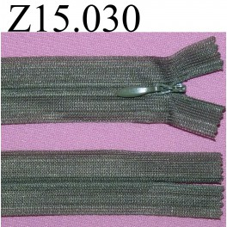 fermeture éclair longueur 15 cm couleur kaki non séparable invisible zip nylonl largeur 2.5 cm
