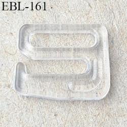 Crochet 10 mm pvc transparent  plastifié largeur intérieur de passage de bretelle 10 mm largeur extérieur 14 mm hauteur 11 mm