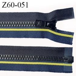 fermeture zip à glissière YKK longueur 60 cm couleur noir bleu et jaune séparable zip moulé largeur 3,2 cm largeur zip 6 mm