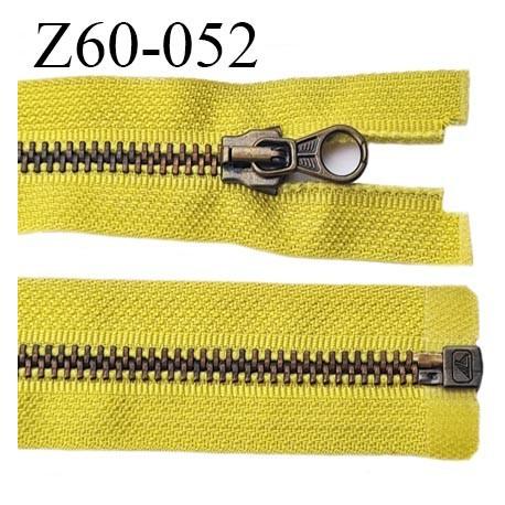 fermeture zip haut de gamme longueur 60 cm couleur jaune vert séparable largeur 3 cm glissière métal largeur 6 mm