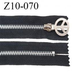 Fermeture zip 10 cm couleur noire séparable zip métal Peace&Love