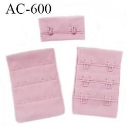 Agrafe attache 38 mm de soutien gorge 3 rangées 2 crochets largeur 38 mm hauteur 55 mm couleur rose fabriqué en Europe