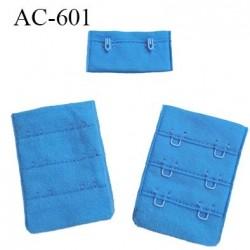 Agrafe attache 38 mm de soutien gorge 3 rangées 2 crochets largeur 38 mm hauteur 55 mm couleur bleu fabriqué en Europe