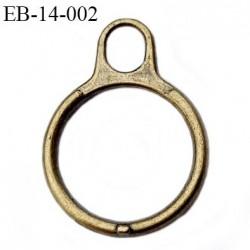 anneau tirette diamètre intérieur 14 mm couleur laiton hauteur 24 mm épaisseur 2 mm diamètre extérieur 18 mm