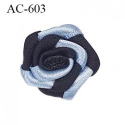 Noeud fleur diamètre 20 mm lingerie couleur noir et bleu haut de gamme diamètre 20 mm