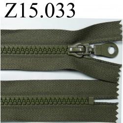 fermeture éclair longueur 15 cm couleur vert kaki  non séparable zip nylon largeur 3.3 cm largeur du zip 5 mm