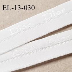 Elastique 13 mm pré plié couleur blanc inscription Dior haut de gamme très doux largeur 13 mm très joli prix au mètre