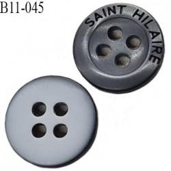 bouton 11 mm  pvc très haut de gamme st hilaire bouton de grande marque couleur anthracite et gris clair 4 trous 11 millimètres