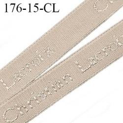 élastique de marque Christian Lacroix inscription en surpiquage couleur marron glacé largeur 15 mm prix au mètre