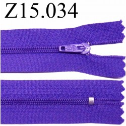 fermeture éclair longueur 15 cm couleur violet non séparable  zip nylon largeur 2.5 cm