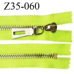 Fermeture zip à glissière en métal longueur 35 cm couleur vert fluo non séparable largeur 3.6 cm zip glissière largeur 7.5 mm