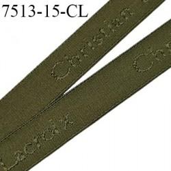 Elastique bretelle 15 mm et lingerie couleur kaki en surpiqure inscription Christian Lacroix haut de gamme prix au mètre