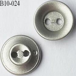 bouton haut de gamme diamètre 10 mm couleur gris argenté effet métal 2 trous
