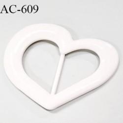 boucle coeur plastique PVC blanc 110 mm vendu à l'unité