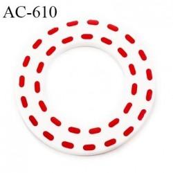 Anneau pvc 41 mm pour lingerie ou autre couleur blanc brillant pointillé rouge diamètre extérieur 41 mm  intérieur 24 mm