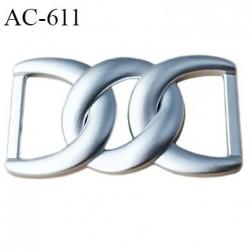 boucle l05 mm plastique PVC  couleur argent largeur 105 mm hauteur 60 mm passage intérieur 40 mm