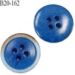 Bouton 20 mm pvc très haut de gamme couleur bleu et marron 4 trous diamètre 20 mm épaisseur 3.5 mm