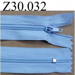 fermeture éclair longueur 30 cm couleur bleu  zip nylon non séparable largeur 2.5 cm
