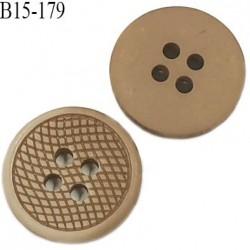 Bouton 15 mm pvc très haut de gamme couleur beige marbré 4 trous diamètre 15 mm