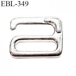 Crochet métal 9.5 mm en argent vernis brillant largeur intérieur de passage de bretelle 9.5 mm haut de gamme