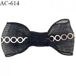 Noeud 32 mm lingerie haut de gamme couleur noir en mousseline et bande sequins largeur 32 mm hauteur 15mm