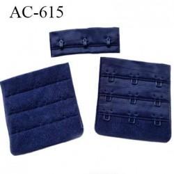 Agrafe attache 55 mm  de soutien gorge 3 rangés 3 crochets largeur 51 mm hauteur 53 mm couleur bleu marine