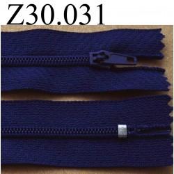 fermeture éclair longueur 30 cm couleur bleu foncé zip nylon non séparable