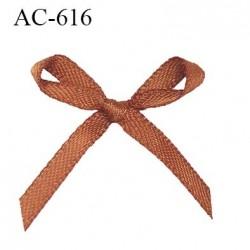 Noeud 25 mm lingerie haut de gamme couleur marron satiné largeur 25 mm hauteur 23 mm