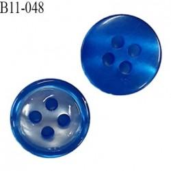 Bouton 11 mm pvc très haut de gamme couleur bleu brillant nacré 4 trous épaisseur 3.5 mm diamètre 11 millimètres