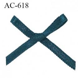 Noeud satin 25 mm lingerie haut de gamme couleur bleu canard satiné largeur 25 mm hauteur 25 mm