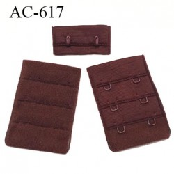 Agrafe attache 38 mm rallonge extension de soutien gorge 2 crochets longueur 55 mm couleur chocolat
