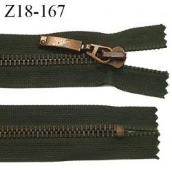 fermeture zip très haut de gamme RIRI superbe longueur 18 cm couleur vert non séparable largeur 30 mm glissière laiton 6 mm